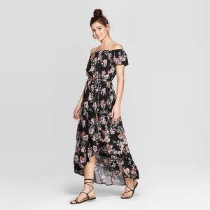 Floral Print Short Sleeve Off the Shoulder Dress